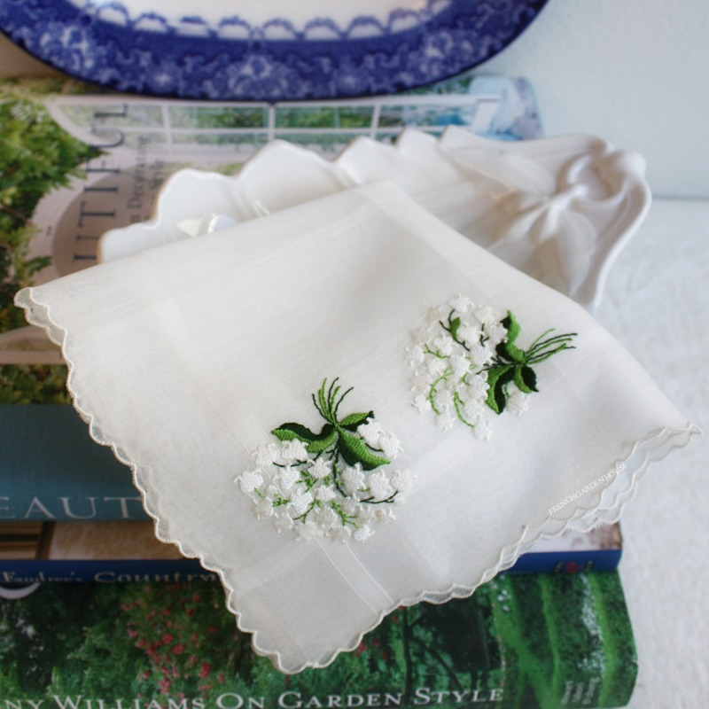 Vintage Hand Embroidered Linen Lily of the Valley Handkerchief