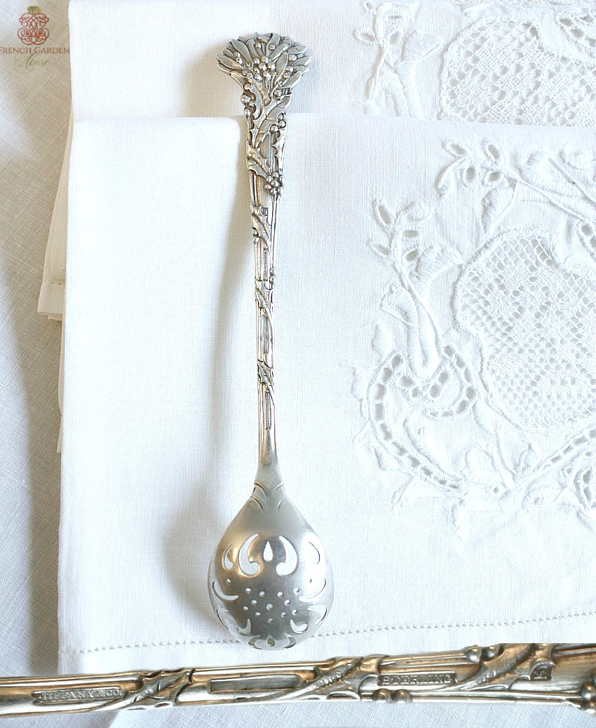 Antique Tiffany Sterling Holly & Mistletoe Berry Olive Spoon