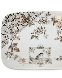 Antique Brown Transferware Aesthetic BIRD Platter