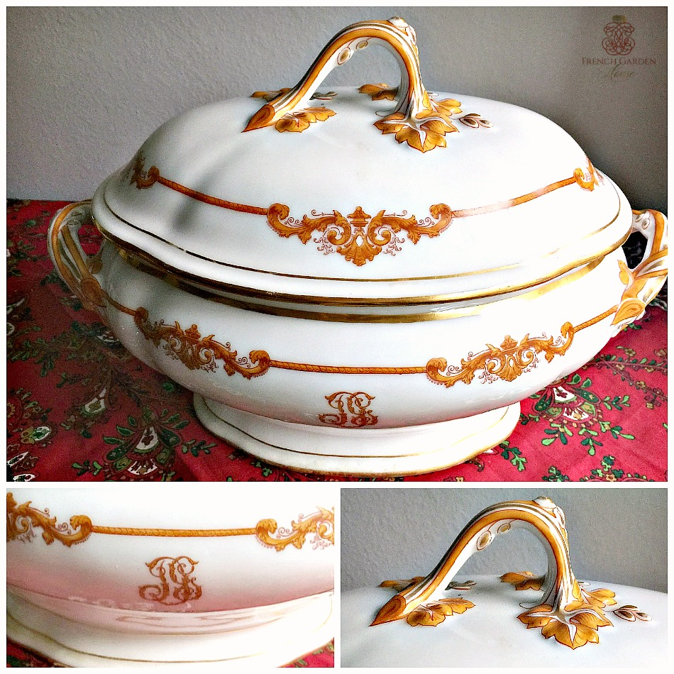 Antique French Large Old Paris Hotel Covered Tureen