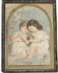 Antique Chromolithograph Two Young Girls with Bird Nest