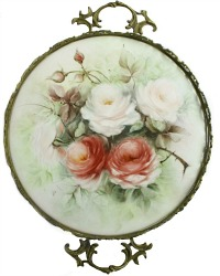 Victorian Hand Painted Rose Porcelain Mounted Tray Signed