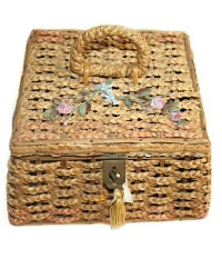 Antique Wicker Sewing Basket Pink Roses