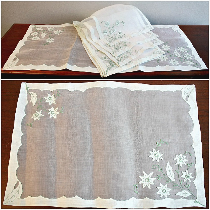 Vintage Madeira Organdy Place Mat Setting for 8 with Runner Light Green