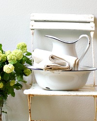 Antique Swedish Country White Shabby Pitcher and Bowl Set