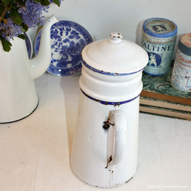 Antique French White Enameled Biggin Coffee Pot