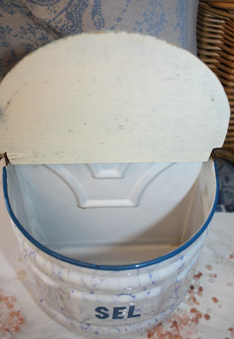 Antique Blue, White And Aqua Enamel Salt Box