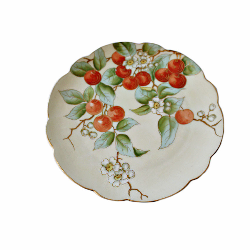 Antique Hand Painted Vienna Porcelain Plate Cherries with Gilt