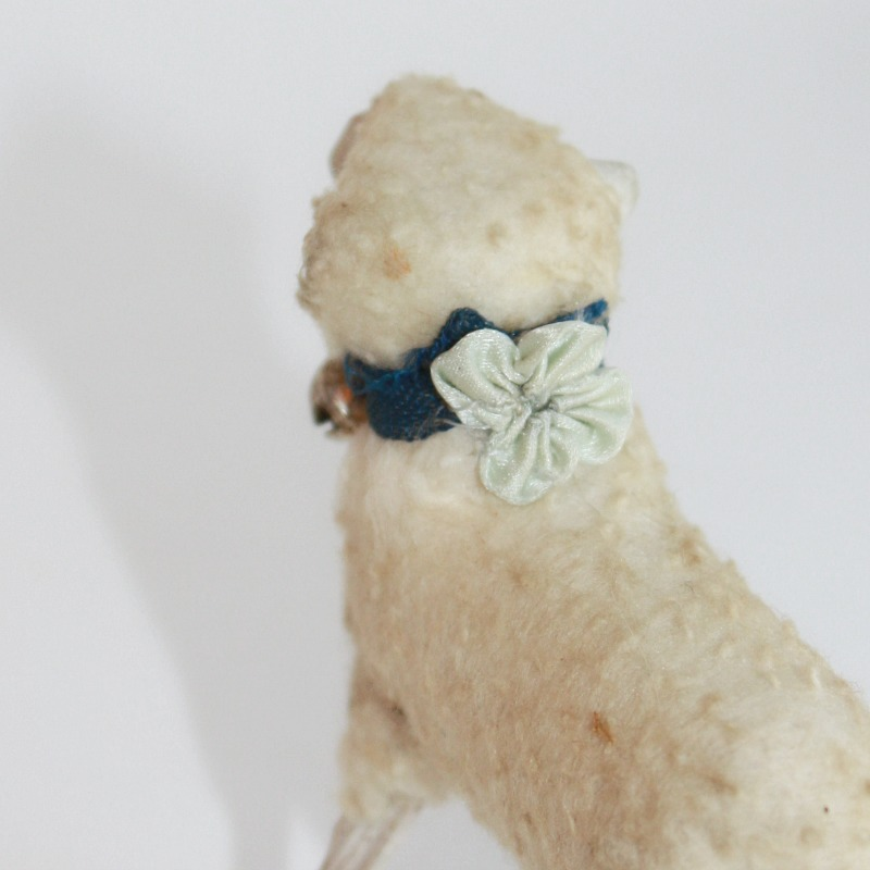 Antique Sheep with French Blue Silk Flower and Bell