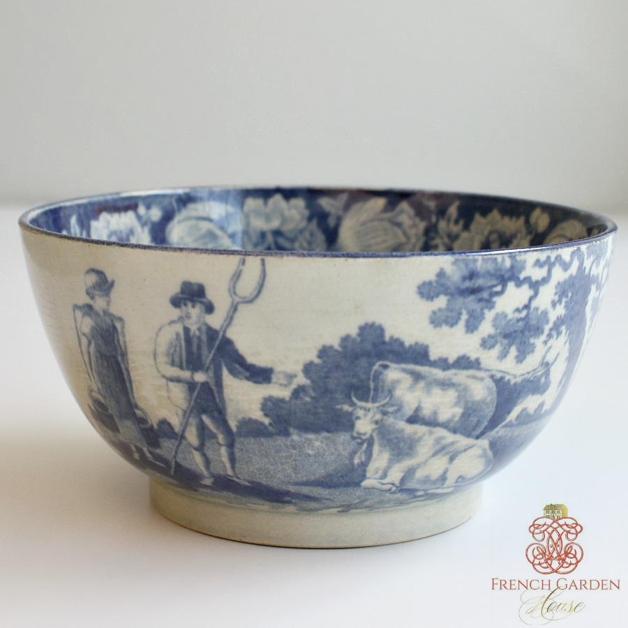 Antique Estate Blue Transferware Country Waste Bowl