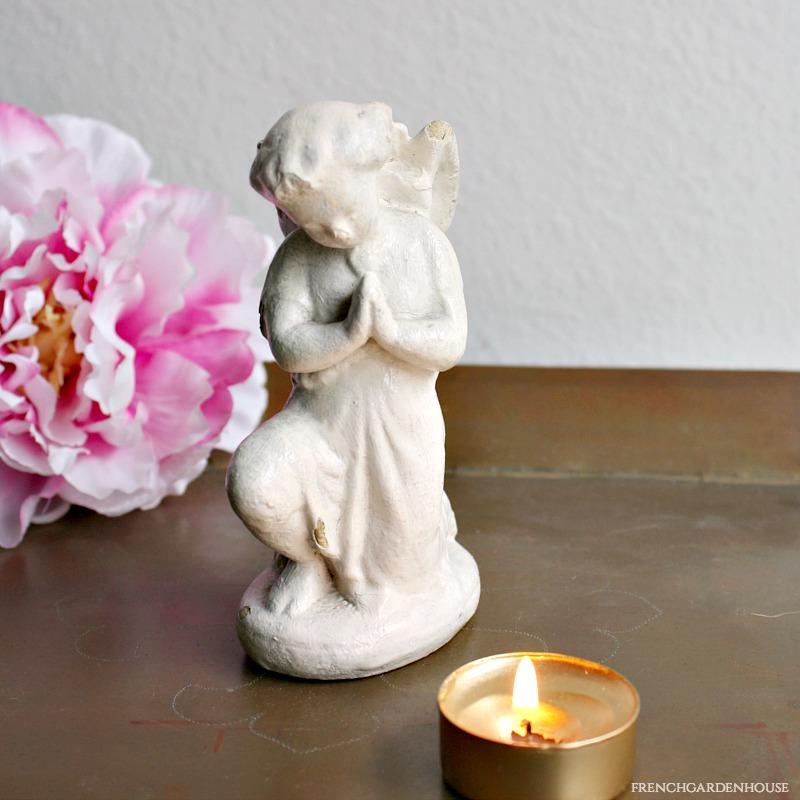 Antique Plaster of Paris Praying Angel
