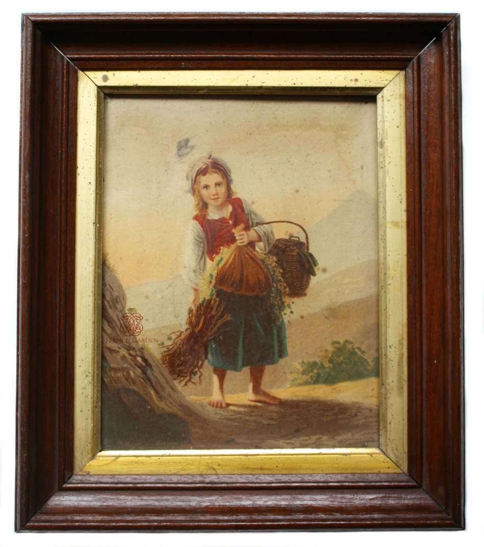 Antique Chromo Print of a Country Girl