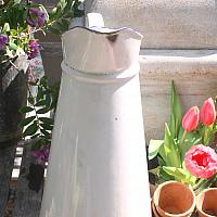 Antique French Enamelware Body Pitcher White