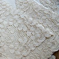 Antique French Cream Lace and Linen Napkins Set