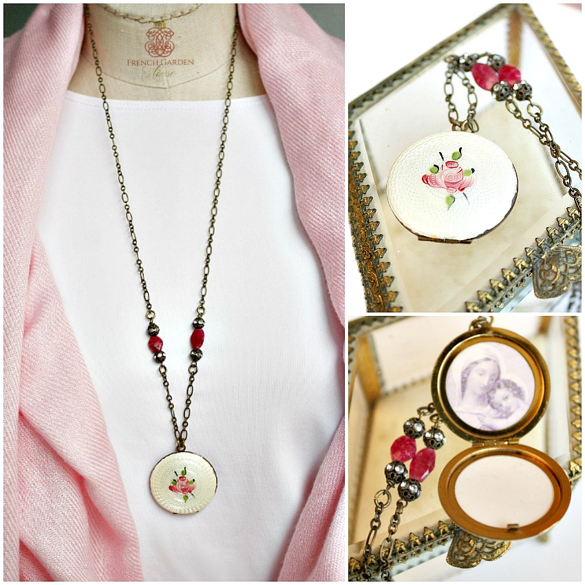 French Guilloche Pink Rose Locket Necklace