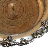 Large English Silver Plated Champagne Magnum Bottle Coaster Grape Garland