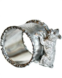Antique Silver Plate Figural Napkin Ring with Dog