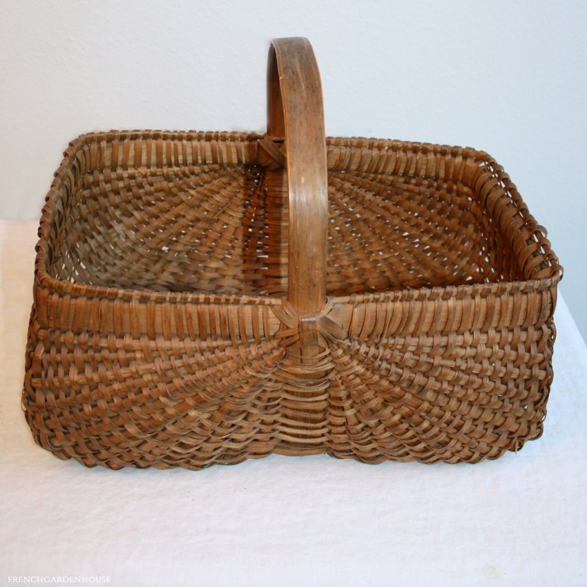 Antique Large Hand Woven Rib Type Splint Market Basket