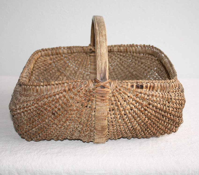 Antique 19th Century Hand Woven Rib Type Splint Basket