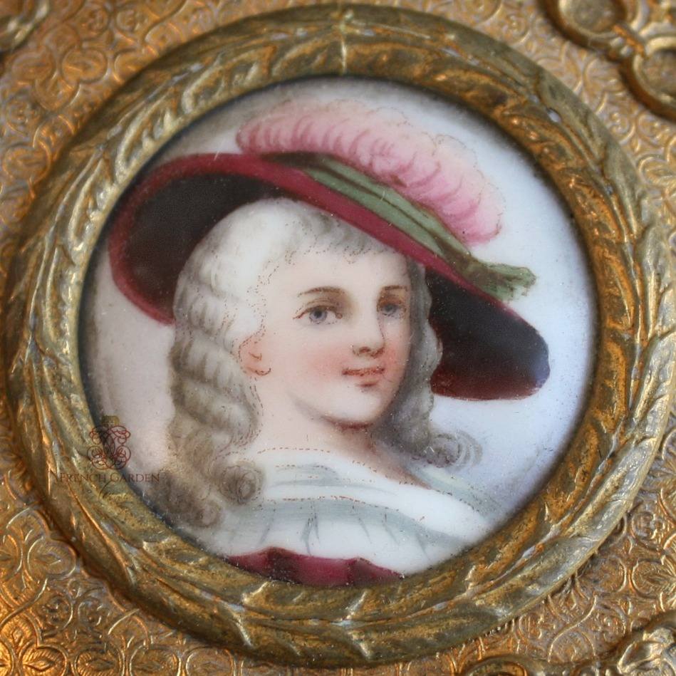 19th Century French Gilt Bronze Limoges Portrait Jewelry Box