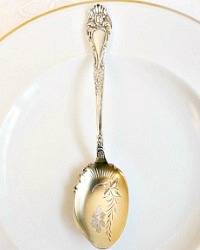 Antique Sterling Silver Jam Spoon Floral Gold Wash