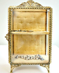 Gold Plated Filigree Beveled Glass Jewelry Vitrine
