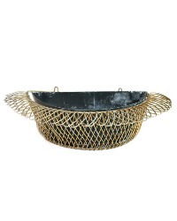 French Black and Gilt Wirework Tole Metal Planter
