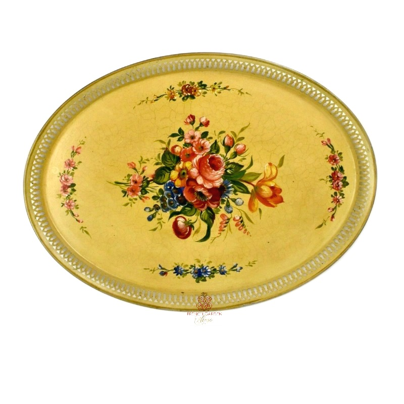 Antique French Country Hand Painted Tole Peinte Tray