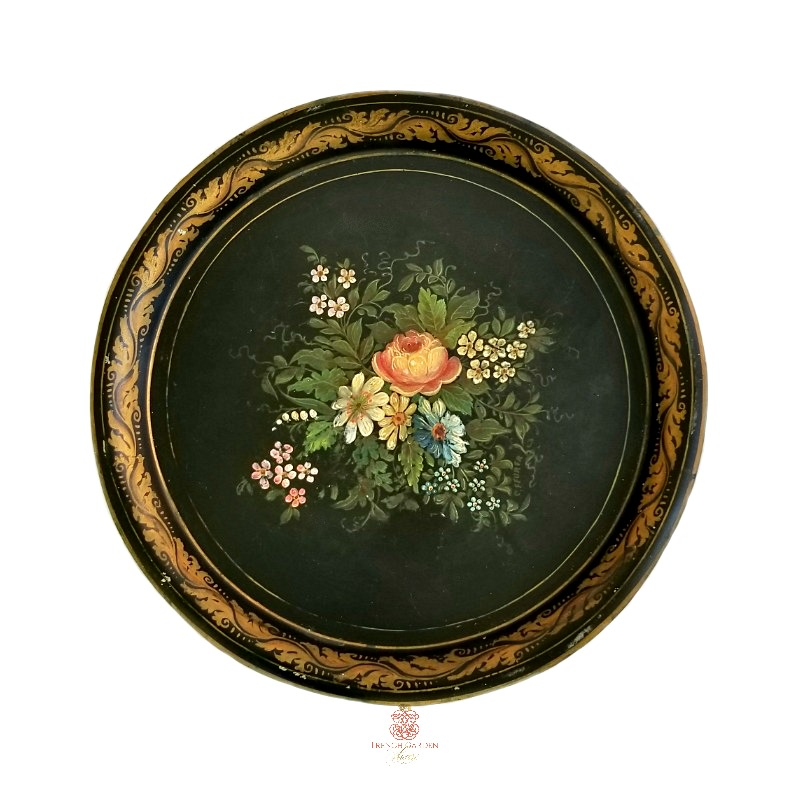 Antique Hand Painted Floral Tole Tray Round