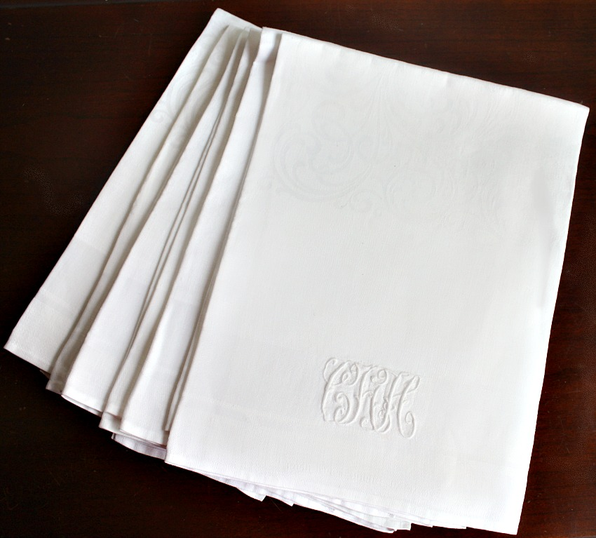 Antique Linen Monogrammed Napkins set of 6