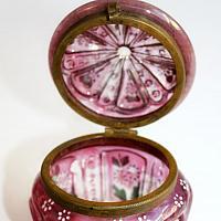 Antique Cranberry Glass Gilt Enamel Vanity Jar