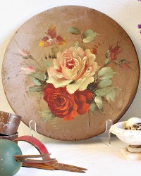 Antique Shabby Rose Oil Painting on Metal
