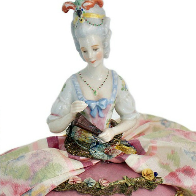 Antique Porcelain German Half Doll Arms Away Pin Cushion