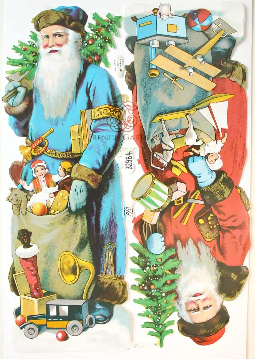 Rare Antique Large Father Christmas Blue