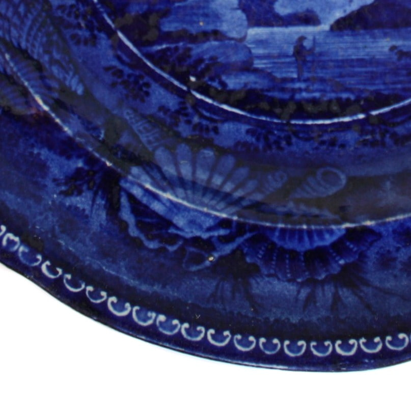 Antique Flow Blue Staffordshire Pottery Plate Fall of Montmorenci Near Quebec