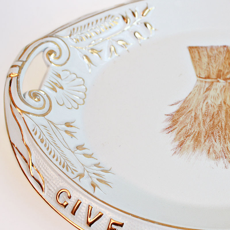 Antique Ironstone Give Us Day Our Daily Bread Tray with Wheat & Gilt