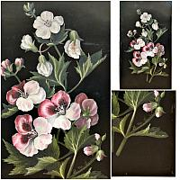 Antique Signed Floral Oil Painting on Metal Panel Pink & White