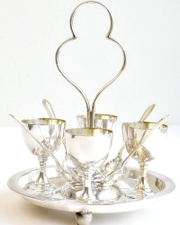 Antique Silver Plated Egg Cruet Set with Spoons