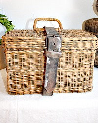 Storied Wicker Picnic Basket with Leather Strap