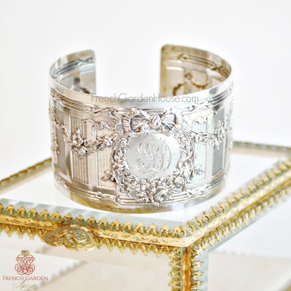 KDL Antique French Sterling Silver Ribbons Monogrammed J L D Cuff Bracelet