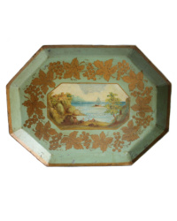 Antique 19th Century French Tole Tray with Harbor Scene