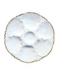 1940's Porcelain de Baudour Oyster Plate Blanc with Gold
