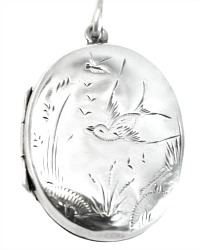 Antique Sterling Silver Swallow & Bug Locket