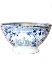 19th Century Blue Staffordshire Transferware Tea Bowl