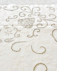 Exquisite Antique Needle Lace Italian Tablecloth Floral Baskets