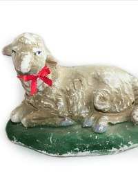 Antique Medium Chalkware Sheep