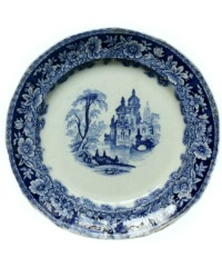 19th Century Staffordshire Blue Transfer Print Plate Clementson