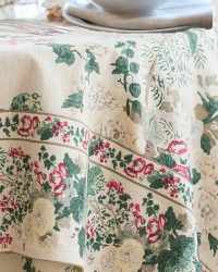 Country Cabbage Flowers Antique Cream & Red Floral Tablecloth