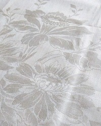 Antique Light Cream Floral Damask Tea Towel Hydrangea Daffodil