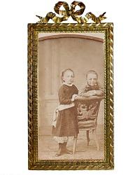 Antique 1800's Bronze Dore Picture Frame Ribbon Bow